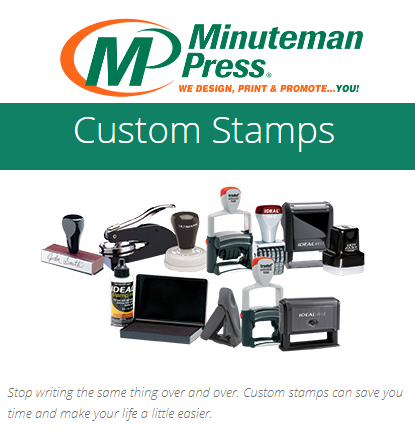 Save time with repetitive communications by using Pre-Inked Stamps Custom & Stock, https://www.puyallup.minutemanpress.com/products-services/custom-stamps.html