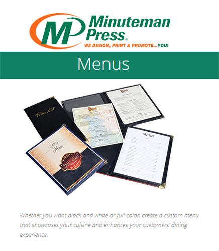 Menu's, Room Service Folios and more... https://www.puyallup.minutemanpress.com/products-services/menus.html