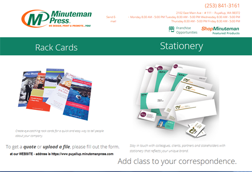 RACK CARDS FOR Attraction  / Promotion Marketing - Conventional Stationary Custom Design / Print
