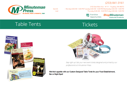 Table Tents for Eateries, Bars, Entertainment Venues - Tickets for Raffles, Door Prizes and Special Events. https://www.puyallup.minutemanpress.com/products-services/table-tents.html