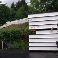 SUPER SIP'ED House...panels being staged for a new residential project going up in Gig Harbor, WA. Roofs, walls and floors