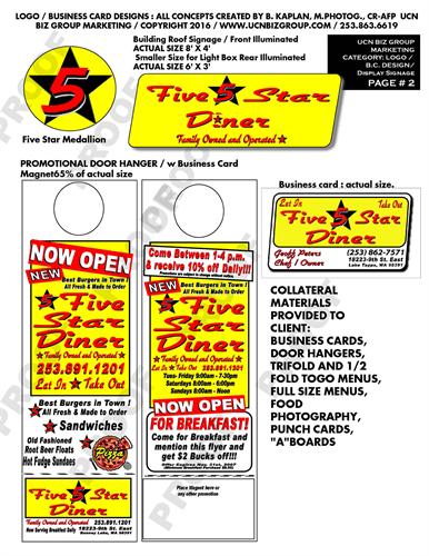 Logo's, Business Cards,Door Hangers,  Banners, & Sign Displays also website graphics.