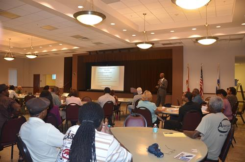 "Wayne M. Messam speaks at the ""How To Do Business"" workshop."