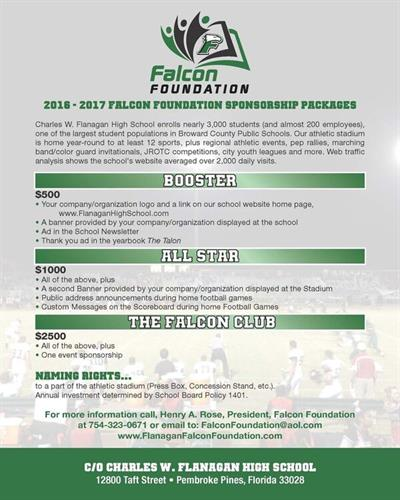 Falcon Foundation Sponsorship Packages 2016-2017