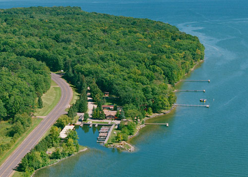Aerial View of 37 slip harbor and Pine Point
