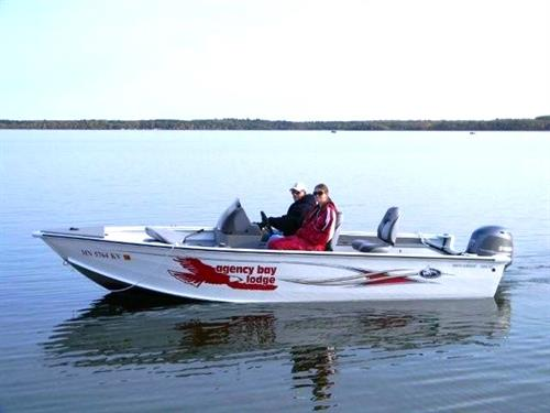 Our rental boats, 18.5' Polar Craft w/ 70hp