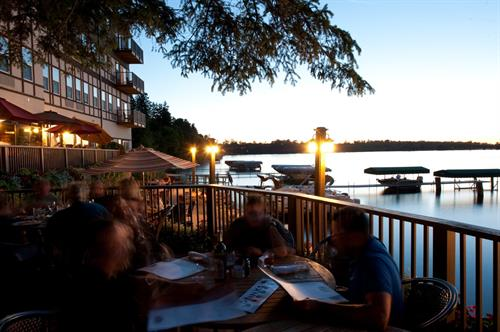 Outdoor dining by the lake