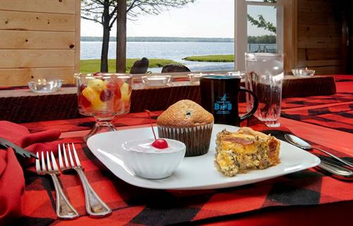 Delicious breakfast with a beautiful view of Leech Lake