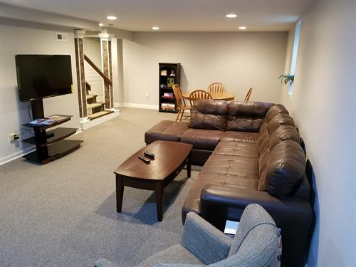 Basement family room with PS2 and game table