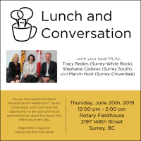 Lunch & Conversation with MLAs Tracy Redies, Stephanie Cadieux, and Marvin Hunt