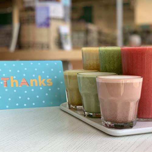 Fresh fruit smoothies & tea/herb lattes