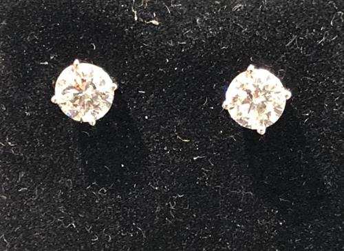 Large selection of diamond stud earrings up to 1 1/2 carats total