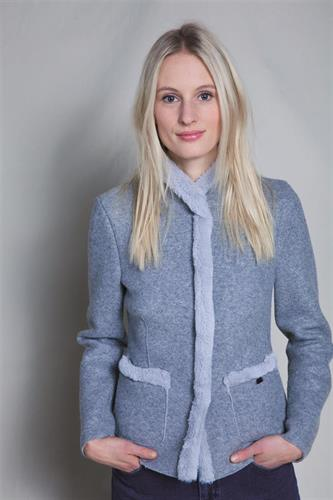 GEIGER's faux rabbit collar short jacket