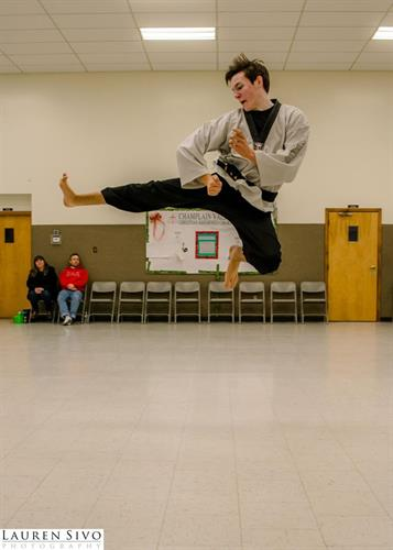 flying side kick - new 2nd degree black belt 14 years old