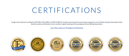 Enagic Certifications