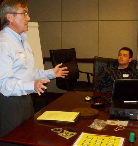 John Hurley, Web Seal president, trains manufacturing engineers in the basics of seal technology