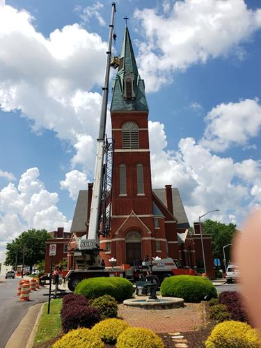 Mt Vernon Church Roof Replacement, Steeple Repair, Flat Roof system / Shingle Roof