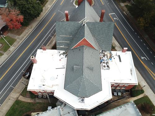 Mt Vernon Church Shingle Roof and Flat TPO Roof Replacement in Danville, VA
