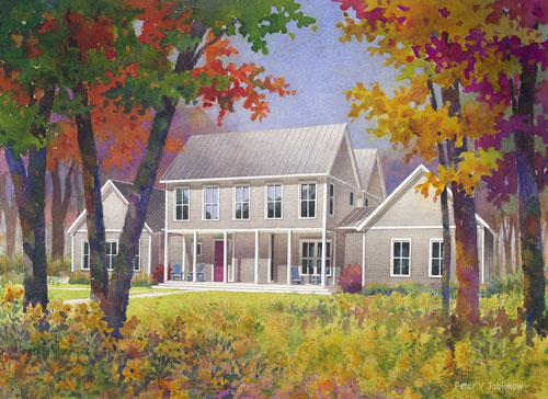 Deerpath Farms 5 bedroom unit, Mattawa, IL, watercolor and photoshop