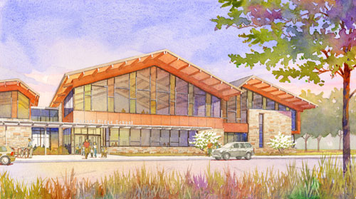 Sunset Ridge School, Park Ridge , IL, watercolor and photoshop