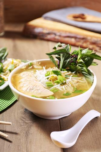 PHO: Warm, rich, and delicious soup with your choice between chicken or veggie broth, both made completely from scratch; served with sliced protein, rice noodles, and a fresh medley of bean sprouts, mint, basil and scallions.