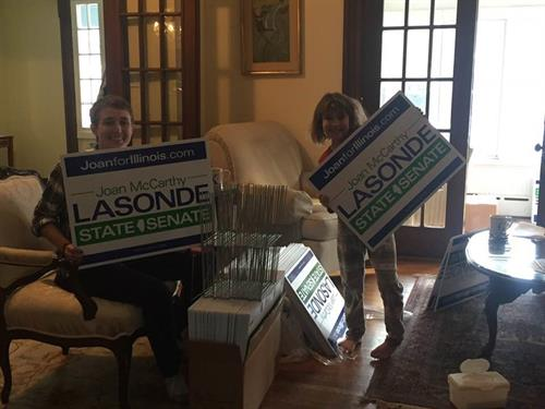 Grateful for my hard working volunteers who put together 500 yard signs.