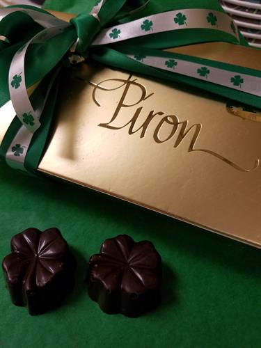 Ready for St. Patty's Day! Tart Michigan Cherries soaked in Brandy, blended in a dark chocolate brandy-infused ganache, molded in semi-sweet chocolate.