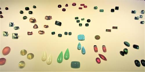 Assorted gemstones on display at the Tucson Gem and Mineral Show.
