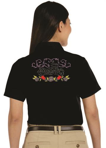 Custom ladies embroidered Dickies shirt.