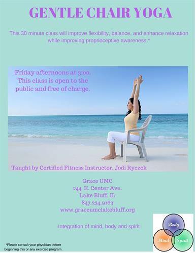 Gentle Chair Yoga Open to the Community & Free of Charge