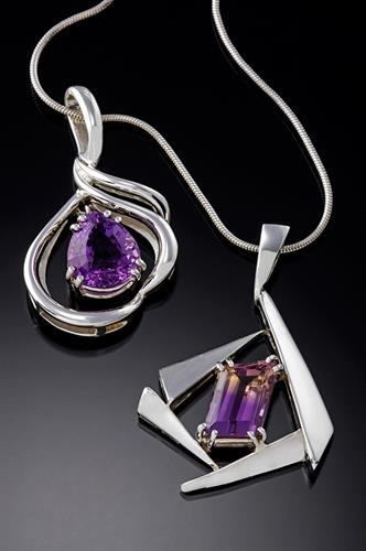 Amethyst and Ametrine pendants in Sterling