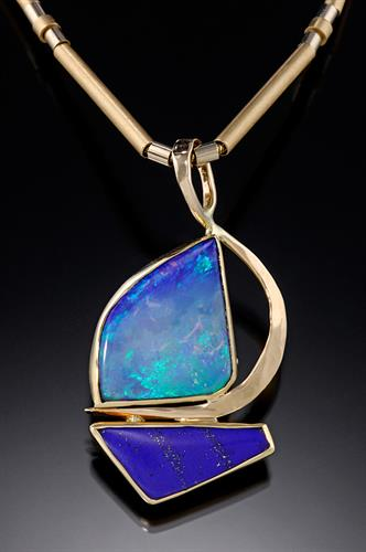"Opal and Lapis Lazuli ""sailboat"" pendant in 14K"