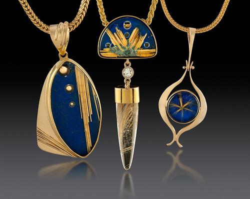Rutilated Quartz over Lapis Lazuli pendants in 14K gold