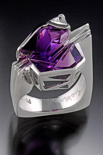 Fantasy cut Amethyst in rRng in palladium