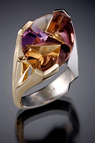 Fantasy cut Ametrine in both yellow and white gold
