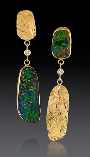 Australian Boulder Opal Earrings in Reticulated 14K gold with Diamonds