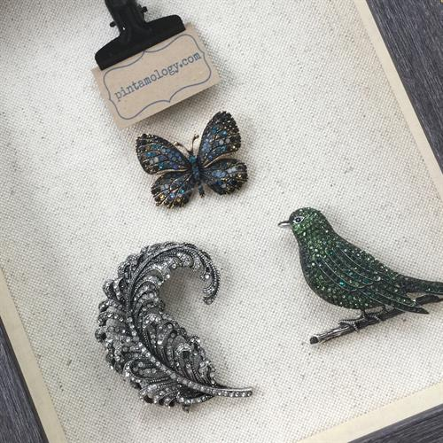 Bug, bird and botanical brooches at www.pintamology.com