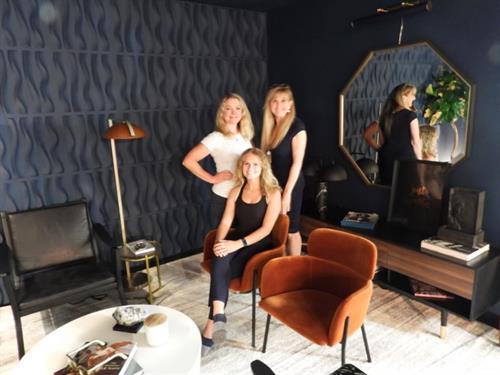 Studio Owner Holly Hanzel, Studio Designer Carol Carani, and assistant Natalie Logue
