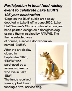 """Participation in local fund raising. """"Miss Bluffie"""", hand painted  fiberglass dog, theme inspired by one of our philanthropic recipients"""