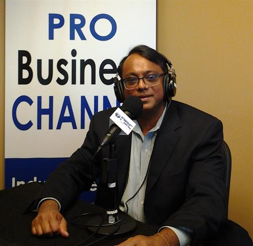 Neel Majumdar speaking at the Buckhead Business Show hosted by The Pro Business Channel