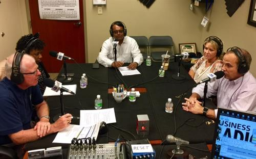 "Neel Majumdar with fellow guests at the ""Open for Business"" show from BusinessRadioX"""