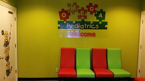 Waiting room at Omega Pediatrics