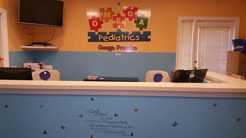 Inside Omega Pediatrics at Roswell opposite North Fulton Hospital