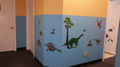 Decorative kid-friendly decals Inside Omega Pediatrics at Roswell opposite North Fulton Hospital