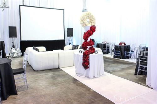 Modern white leather furniture, uplighting, projector screen