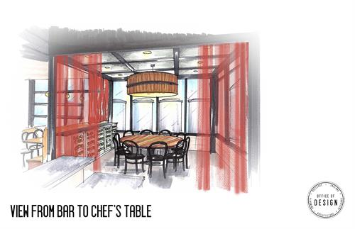 Rendering of the semi-private dining area