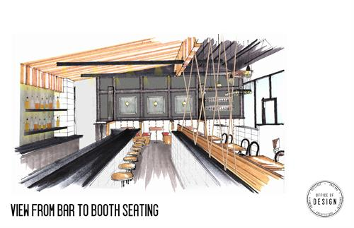 Rendering of the bar area