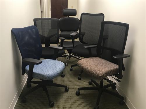 Chairs of all colors, sizes, and ergonomic features. We can do a chair show at YOUR location.