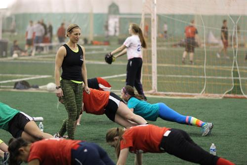 Girls softball training in the dome