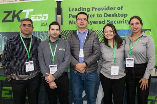 ZKTeco team exhibiting at ISC East trade show in New York City.